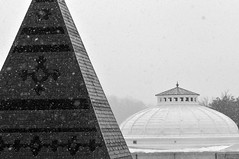 Cornell towers in snow (flickrfanmk2007) Tags: roof blackandwhite bw snow ny storm campus snowflakes nikon university pyramid towers cornell ithaca f28 d300 105mm