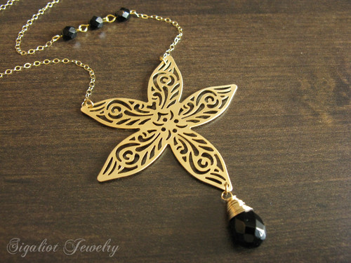 Big Lace Flower with Black Onyx Necklace