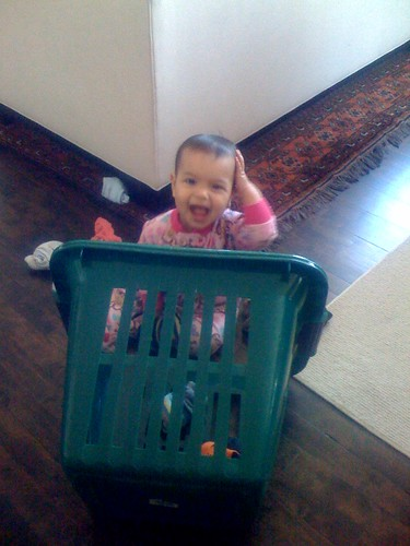 Laila organizing the laundry