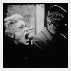 """The Scream of the Banshee"" (Sion Fullana) Tags: people urban blackandwhite newyork blur blancoynegro vintage subway square scary streetphotography surreal creepy squareformat scream characters allrightsreserved newyorkers newyorklife iphone mouthopen whitehair newyorksubway 500x500 classiclook urbanshots olderlady urbannewyork iphonephotography iphoneshots sionfullana iphoneography iphoneographer sionfullana editedanduploadedoniphone hipstamatic thescreamofthebanshee hipstamaticformat126apps throughthelensofaniphone"