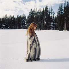 (laurenlemon) Tags: snow 6x6 film rolleiflex mediumformat caitlin still 120film redhead expired redhair 2009 longcoat fauxfur serenelakes laurenrandolph caitlinrandolph laurenlemon wwwphotolaurencom
