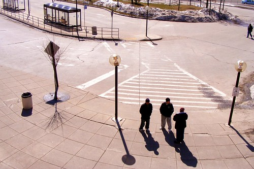 Three Men Outside Wheaton Station