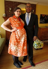 Masheka and I on our way to the bar mitzvah... (M1khaela) Tags: orange fashion vintage print dress sewing silk style pregnant retro maternity 1970s bold