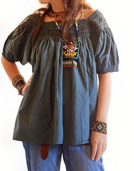 Indie Mexican embroidered blouse deep teal by Aida Coronado Galeria