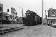 Scan11273ccxx (citatus) Tags: railroad bw canada train niagarafalls minolta railway 102 1970 streetscape cr srt on centralrailway