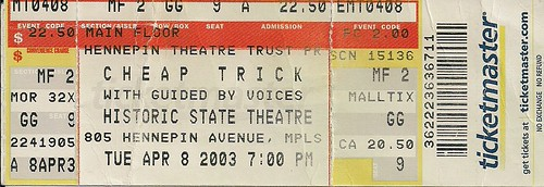 04/08/03 Cheap Trick/Guided By Voices/The Anniversary @ Minneapolis, MN (Ticket)