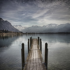 (Philippe Saire || Photography) Tags: mountain lake alps montagne alpes canon square landscape eos switzerland suisse lac shore 1855mm paysage lman hdr ponton gettyimages jete carr 500x500 photomatix 450d topazadjust philippesaire