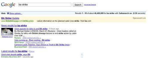 BA Strike Google Keyword