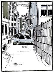 Rue des tables Claudiennes, Lyon - France (bruno molliere) Tags: sketch croquis randocroquis randocroqueur