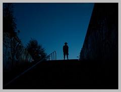 the blue one (sulamith.sallmann) Tags: blue people man berlin silhouette night germany dark deutschland person europa nightshot nacht menschen creepy bleu psycho mann blau deu dunkel nachtaufnahme personen gegenlicht nachts mensch shadowman berlinmitte gruselig unheimlich schattenriss enkidu sulamithsallmann friendlychallenges