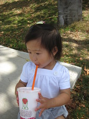 Cooling down with Jamba Juice after hot Easter egg hunt