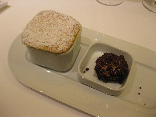 vau souffle with chocolate ice truffle