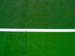 Tennis Court Green Tire Tread White Line