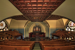 The First Congregational Church of Portland - Oregon - HDR (David Gn Photography) Tags: architecture woodwork interior wideangle stainedglass christian pdx musicalinstrument oldchurch pulpit hdr circular pipeorgan historicbuilding unitedchurchofchrist woodbenches canoneos7d coveceiling sigma1020mmf35exdchsm thefirstcongregationalchurchofportland