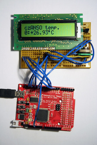 DS18B20 temperature sensor and LCD display