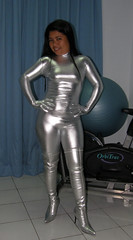Silver Suit (johnerly03) Tags: fashion silver hair asian high long boots philippines thigh heel filipina length catsuit zentai erly