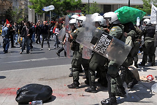 Greek riot police attack civil servants who held national demonstrations on April 22, 2010 against the financial slump brought on by the world capitalist crisis. The financial institutions have worked out a package that is unacceptable to the workers. by Pan-African News Wire File Photos