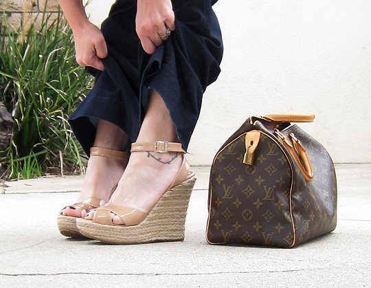 jimmy choo espadrilles+louis vuitton speedy bag
