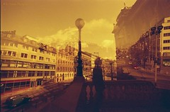 Redscale-MultipleExposure-Fisheye-Analogue-Prague (Eni Turkeshi Imagery) Tags: city urban published prague citylife atmosphere fisheye multipleexposure analogue cinematic tones colornegative redscale marielito fotografeshqiptare