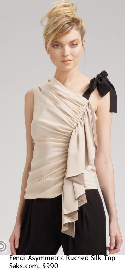 Saks.com - Fendi - Asymmetric Ruched-Silk Top