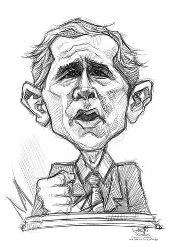 digital sketch of George Bush