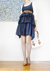Fashion Friday: Navy ruffles (ishandchi) Tags: ruffles dress navy fishnets handbag whitetop fashionfriday ishandchi