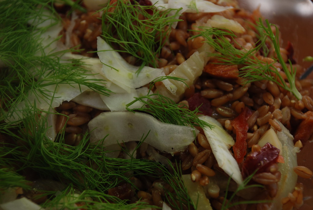 farro with plums, almonds, roasted fennel