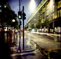 Oxford Street towards Marble Arch, 15 sec exposure (Anatoleya) Tags: street london 120 6x6 st bulb night square holga lomo xpro lomography crossprocessed long exposure velvia selfridges oxford expired 100f holgagraphy 120gcfn gcfn anatoleya