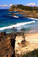 View from Second Head across Pebbly Beach and The Tanks to Bennetts Head - Forster, NSW (Black Diamond Images) Tags: ocean beach australia greatlakes nsw beaches forster pebblybeach secondhead australianbeach bdi midnorthcoast forstertuncurry thetanks australianbeaches beachaustralia blackdiamondimages bennettshead pebblybeachforster haydonsreef haydonsrock