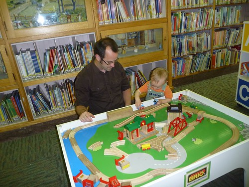 Eric and Silas at the library