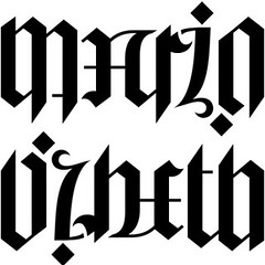 """Mario"" & ""Lizbeth"" Ambigram"