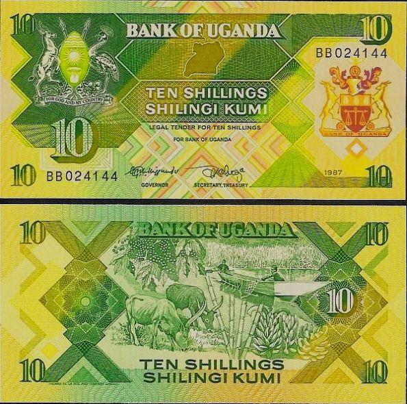 10 Šilingov Uganda 1987, P28