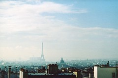 view from the hotel window (Adele M. Reed) Tags: blue sky paris france tower film 35mm canon eos view kodak eiffel 200 ltoureiffel