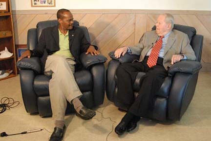NRCS Regional Assistant Chief Leonard Jordan (left) learns from 70 years of conservation experience of Jim. L. Gillis, Jr. (right)
