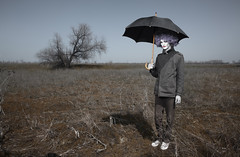 Crazy funny man (Arman_Zhenikeyev) Tags: autumn storm man color male fall halloween rain weather fashion horizontal standing umbrella outdoors crazy glamour solitude darkness absurd circus clown horizon seasonal creative makeup sunshade spooky odd vogue human freak parasol wig fancy horror funnyman characters nightmare concept mad creature madman chimera bizarre steppe evildoer frizz precipitation periwig buffoon malefactor