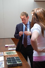 Ed Vaizey viewing Roman coins with Anna Booth