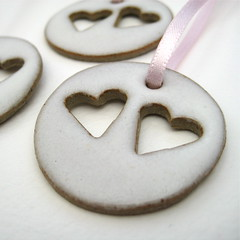 Ceramic heart decorations (white) (Jude Allman) Tags: decorations white ceramic hearts ceramics heart handmade crafts craft jude clay pottery stoneware folksy allman