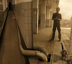 the old factory (Mattijn) Tags: selfportrait cat mirror factory pipe surreal olympus hallway photomontage spill pino hilversum mattijn magicrealism melkfabriek