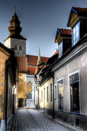 Street and cathedral. Visby. Calle y catedral