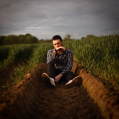 195 (JALD) Tags: boy portrait sunlight selfportrait tractor field grass square outside golden check long sitting mud nowhere hour maybe sit genius 365 195 jald
