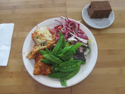 pasta, snow peas, radicchio salad, chocolate cake and milk from the bistro - $6