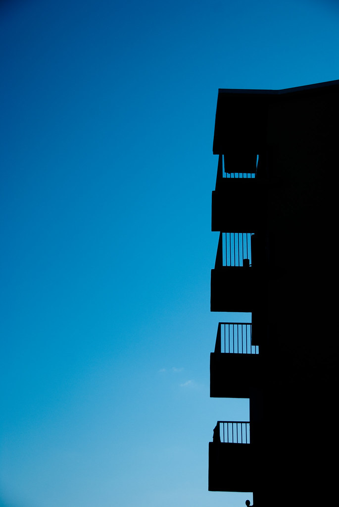 balconies on blue