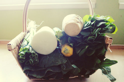 basket of veggies.