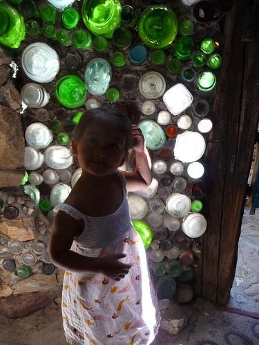 glass bottle wall.