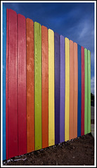 fork (bloomgal) Tags: wood blue red sky orange newmexico colors yellow fence boards paint downtown purple vibrant lavender albuquerque fork dirt multi chartruese smartesque