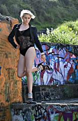rah rah ah ah ah... (FayeBphotography) Tags: irish woman beach girl fashion lady painting hair 50mm graffiti seaside model cove style blonde kelly harris wicklow bray bollard gaga faye leotard d80