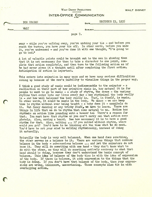 Transcript. WALT DISNEY PRODUCTIONS INTER OFFICE COMMUNICATION  Inter Office Communication Letter