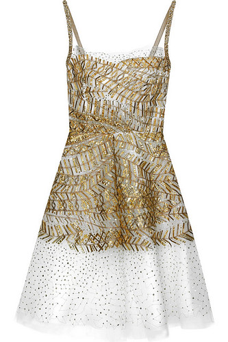 o dela r sequined tulle dress