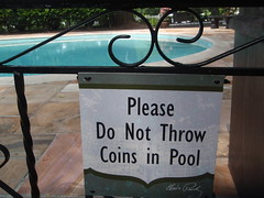 no throwing coins