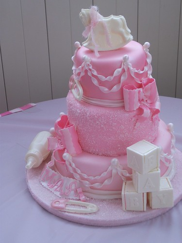 Shades or pink Baby shower cake By: Sue